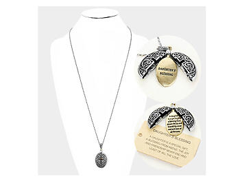 Daughter's Blessing Embossed Metal Opening Locket Pendant Long Necklace