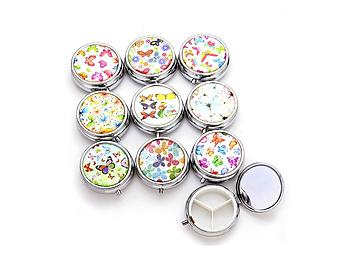 Butterfly Round Three Compartment Pill Organizer Case w/ Mirror