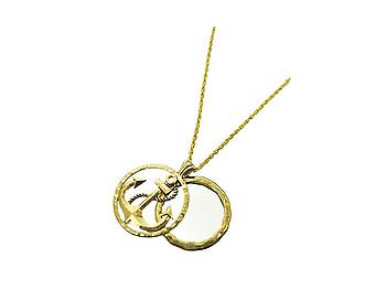Round Goldtone Anchor Magnifier Glass Pendant Necklace