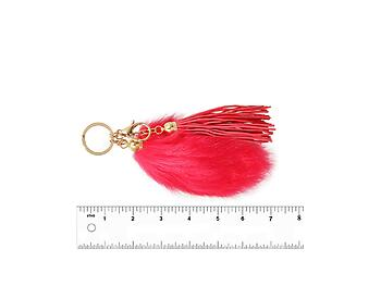 Fuschia Fur Tail and Suede Tassel Drop Keychain