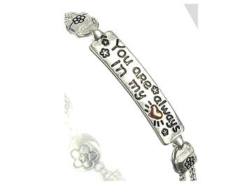 Two Tone Flower Etched Double Box Metal Bar Message Charm Bracelet