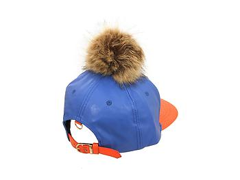 Blue and Orange Faux Leather Pom Pom Snapback Baseball Hat Cap w/ Watch Strap Closure