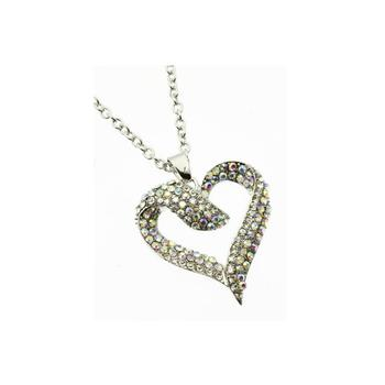 Aurore Boreale Crystal Stone Pave Heart Necklace in Silvertone