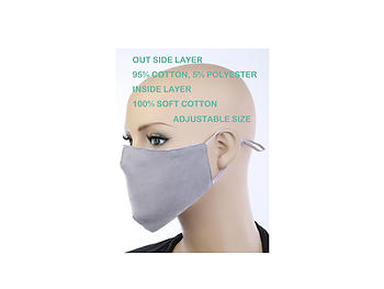 Gray Soft Cotton Embossed Mask Washable Reusable