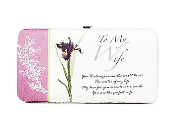 To My Wife Special Floral Flat Wallet