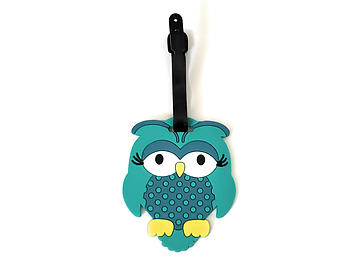 Aqua Blue Owl ~ Travel Suitcase ID Luggage Tag and Suitcase Label