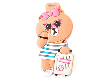 Bear with Suitcase ~ Travel Suitcase ID Luggage Tag and Suitcase Label