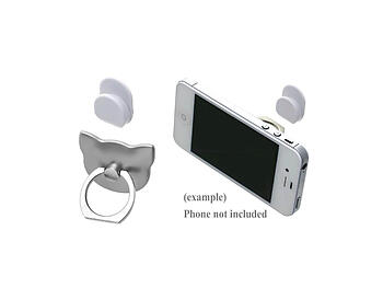 Silver Cat Head Premium Universal Smartphone Mount Ring Hook