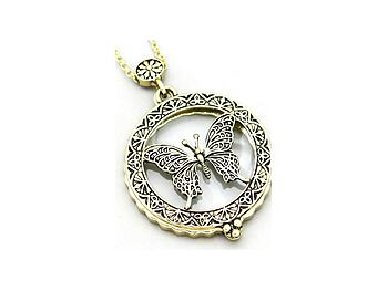 Antique Gold Butterfly Magnifying Glass Pendant Necklace