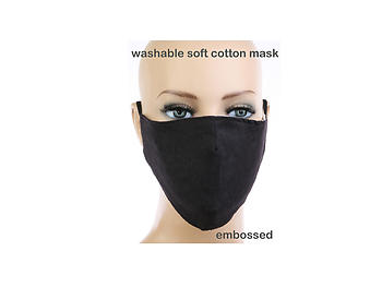 Black Soft Cotton Embossed Mask Washable Reusable
