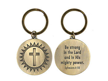 Be Strong Ephesians 6:10 Sunburst Cross Christian Keychain