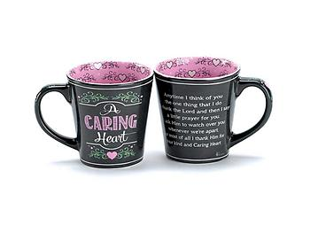 Black and Pink 'A Caring Heart' 12 oz Ceramic Stoneware Coffee Cup Mug