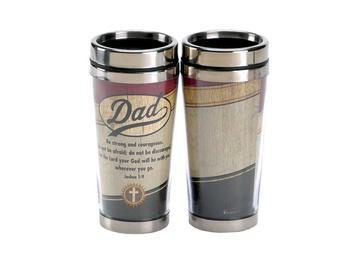 16 Oz. Stainless Steel Insulated Travel Mug with Lid  ~ Dad Be Strong