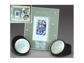 Blue or Pink Enameled Aluminum Photo Frame/Tooth & Curl Box Set