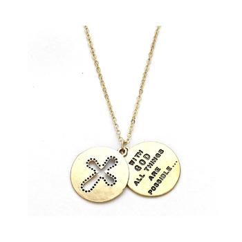 2-Layers Cross Cover Pendant Necklace