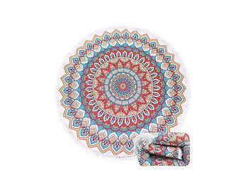 Mandala Summer Round Large Microfiber Terry Beach Towel with Tassels