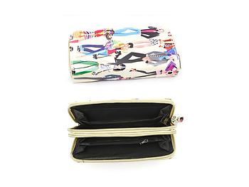Colorful Fashionista Illustrated Two Zipper Wallet with Wristlet Strap