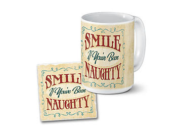 Smile If You've Been Naughty Mug & Coaster Combo Set