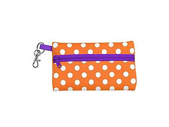 Neoprene Zippered Student ID Case with Key Ring (Orange with Purple)