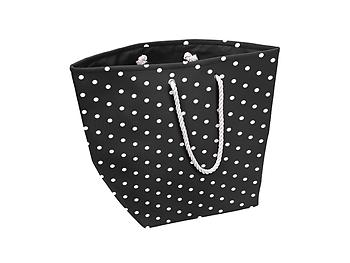 Black Canvas Dots Jumbo Man-made Beach Tote / Hamper Straw Tote