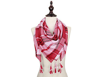 Crimson and White Lightweight Plaid Large Square Scarf with Tassels