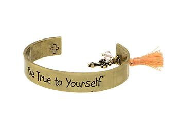 Be True to Yourself Goldtone Message Cuff Style Bracelet