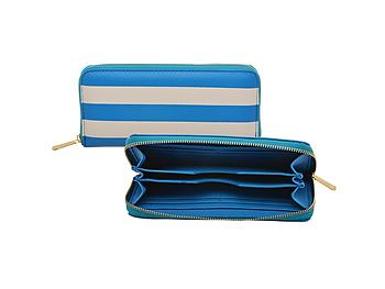 Aqua and White Striped Faux Leather Zippered Wallet