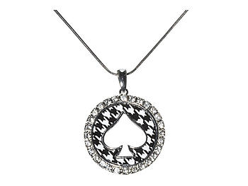 Silvertone Round Houndstooth Spade Pendant Necklace