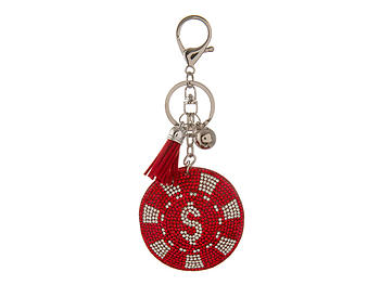 Red Poker Chip Faux Suede Tassel Stuffed Pillow Key Chain Handbag Charm