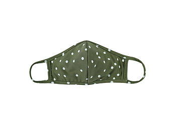 Olive Reusable Polka Dot T-Shirt Cloth Face Mask with Seam