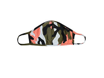 Coral Reusable Camouflage T-Shirt Cloth Face Mask with Seam