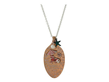 Beach Theme Spoon Burnished Metal Pendant Long Necklace
