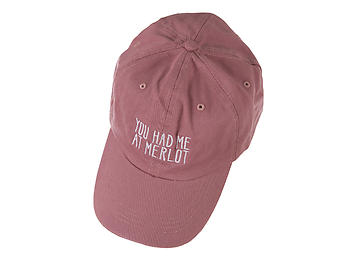 Mauve You Had Me At Merlot Embroidered Adjustable Back Hat Cap