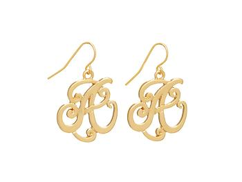 Goldtone Initial A Fishhook Earrings