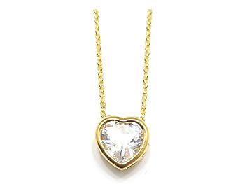 Goldtone Crystal Accent Tiny Heart Shaped Necklace