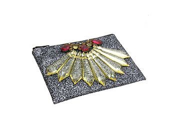 Colorful & Fun Glitter Jewel & Acrylic Accented Top Zipper Fashion Clutch ~ Style 6179