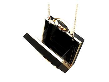 Black Vintage Rotary Phone Dial Hard Acrylic Clutch Purse