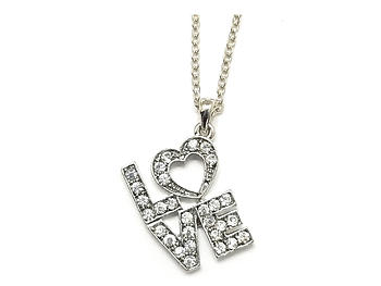 Modern Metallic Crystal Accent LOVE Heart Theme Necklace