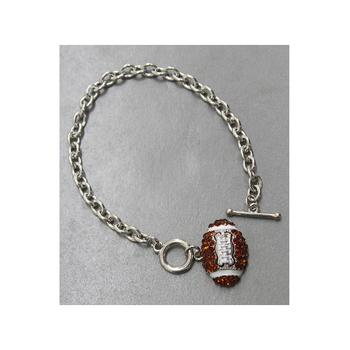 Crystal Accent Football Theme Chain Toggle Bracelet