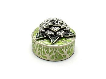 Green Deco Enamel and Crystal Flower Jewelry Trinket Box