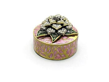 Purple Deco Enamel and Crystal Flower Jewelry Trinket Box