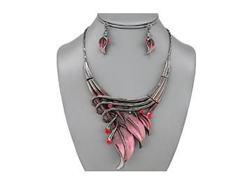 Red Etched Metal Leaf Art Deco Style Collar Necklace Stud Earrings Set