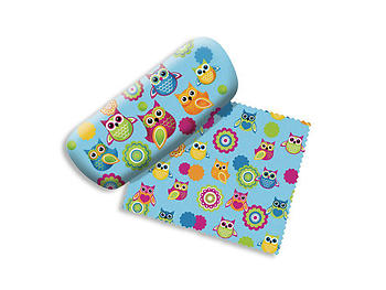 Owls Small Hard Eyeglass Case with Matching Cleaning Cloth