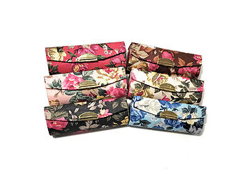 Flower Pattern Lipstick Case Holder w/ Mirror