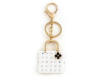 White Crystal Stud Enamel Handbag Ornate Keychain