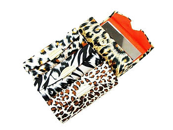Satin Animal Print Lipstick Case w/ Mirror