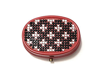 Rhinestone Small Oval Light Up Two Compartment Pill Organizer Case Box ~ Style 626C