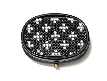 Rhinestone Small Oval Light Up Two Compartment Pill Organizer Case Box ~ Style 628C