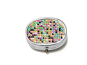 Rhinestone Small Oval Light Up Two Compartment Pill Organizer Case Box ~ Style 633C