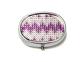 Rhinestone Small Oval Light Up Two Compartment Pill Organizer Case Box ~ Style 634C